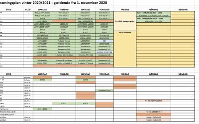 Her er træningsplanen for vinter 2020/21 – træder i kraft 01.11.